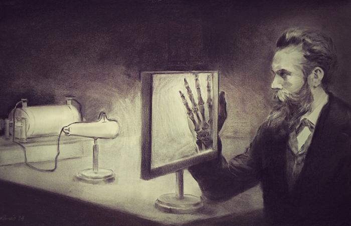 Вильгельм Рентген просвечивает руку.   Фото: araceliregolodos.blogspot.com.