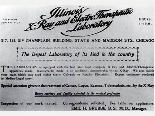 Печатная реклама «электротерапевтической лаборатории» Груббе в Чикаго, 1899 год