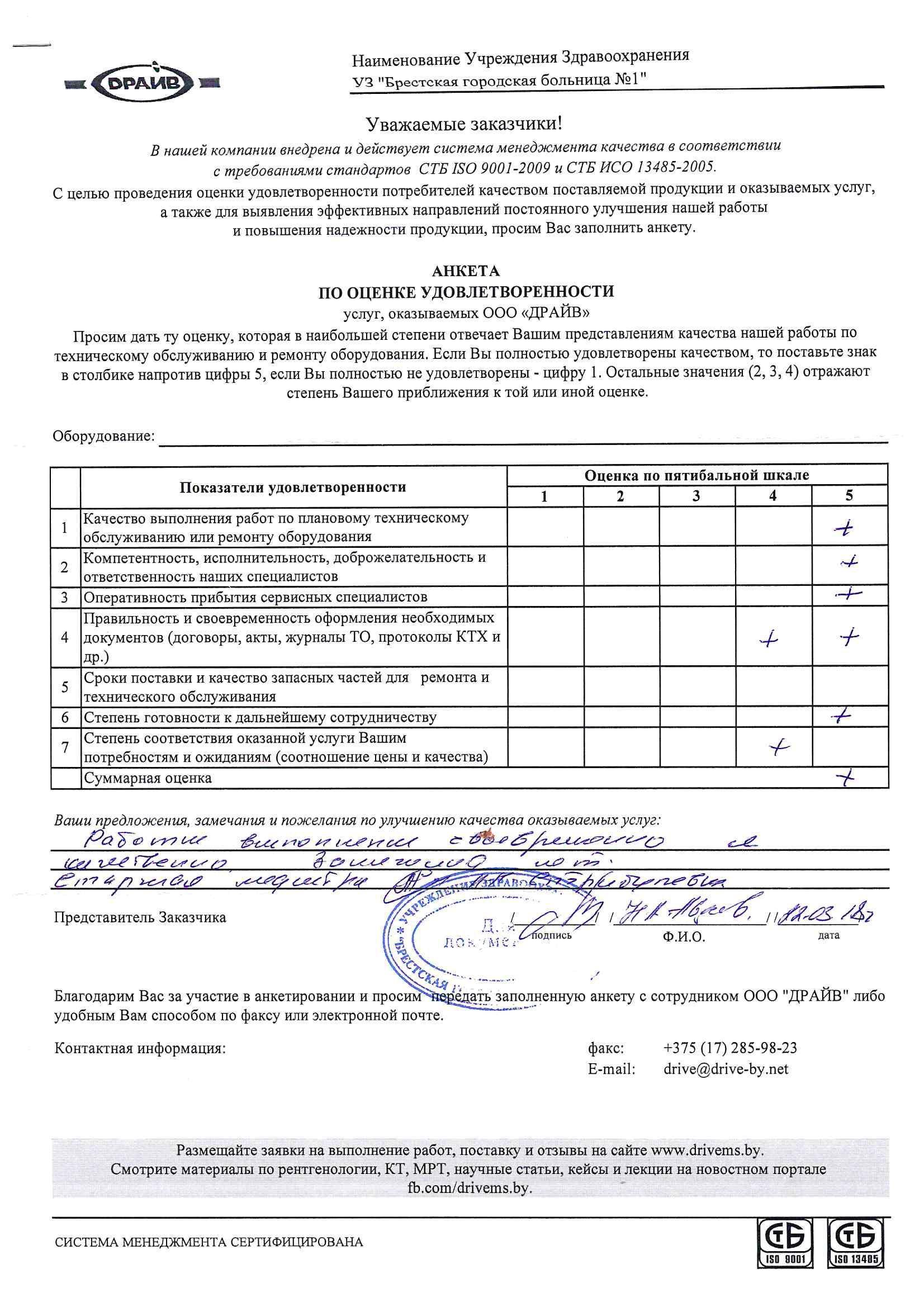 Анкета по оценке услуг 1 больница г.Брест