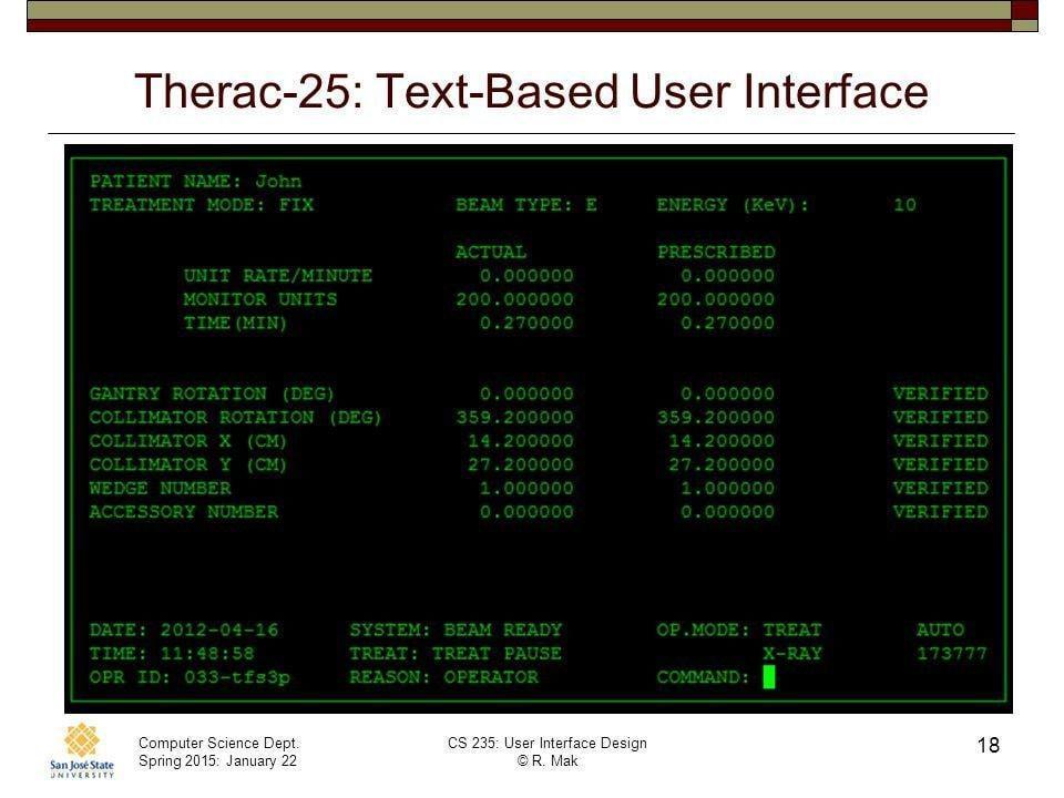 Текстовый интерфейс для ввода данных Therac-25