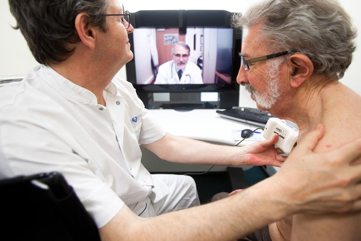 Manadatory Credit: Photo by Voisin/Phanie / Rex Features (1181853a) Telemedicine consultation between two hospitals (Hospital Vaugirard and Hospital Europ