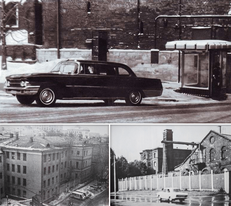 Автомобиль ЗИЛ-111Г, обстрелянный Виктором Ильиным 22 января 1969 года при попытке покушения на Брежнева. Ильин признан невменяемым и 18 лет провёл в одиночном заключении в Казанской СПБ. Эту не до конца ясную историю Андропов использовал для обоснования ужесточения режима спецпсихбольниц и массовой госпитализации противников советского строя как опасных сумасшедших, способных на государственные преступления. Внизу слева: НИИ судебной психиатрии имени В. П. Сербского, снимок 70-х годов, сделан из окна высотного дома на Садовом кольце. Внизу справа: Ленинградская СПБ (специальная психиатрическая больница) на Арсенальной, 9, предназначенная для лечения психически больных лиц, совершивших общественно опасные деяния. Место принудительной госпитализации Есенина-Вольпина, Григоренко, Буковского, Файнберга и многих других инакомыслящих.