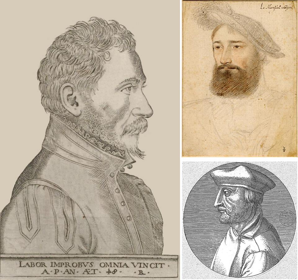 """Слева: Амбруаз Паре (около 1510-1590) в возрасте 48 лет. Портрет из сборника «10 книг о хирургии», отправленного в печать 3 февраля 1563 года. Под портретом - его девиз на латинском языке: """"Упорный труд всё побеждает"""". Справа вверху: Рене, барон де Монжан и де Комбург, сеньор де Бопрео, в 1538 году, когда он стал маршалом Франции, а Паре был хирургом его армии в Пьемонте. Справа внизу: анатом и лингвист Жак Дюбуа (1478-1555), издававшийся под латинизированным именем Якобус Сильвиус. Друг Амбруаза Паре, первый профессор хирургии в Королевском коллеже, ныне Коллеж де Франс."""