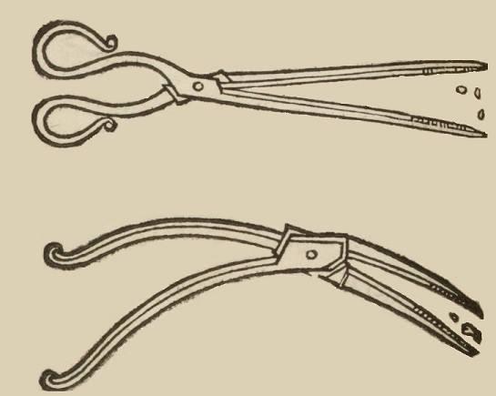 Придуманные Амбруазом Паре инструменты для извлечения пуль из раны - зажимы «клюв ворона» и «клюв журавля», названные автором по внешнему сходству. Иллюстрация из первой книги Паре, изданной в 1545 году.