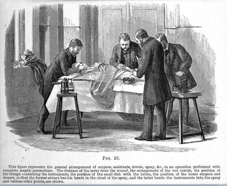 Использование фенольного спрея Листера в операционной. Гравюра 1882 года. Источник: Wellcome Library, London / Wellcome Images
