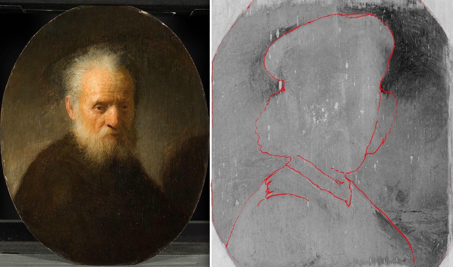 Картина Рембрандта «Старик с бородой» и автопортрет, скрытый под ней