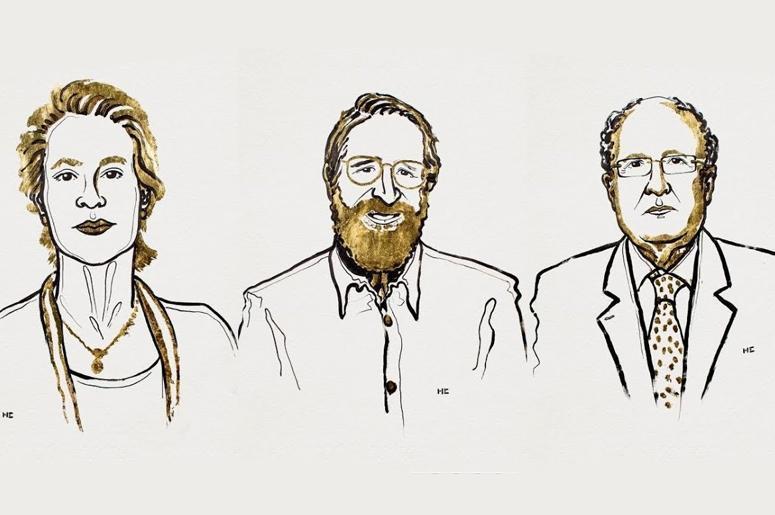 Фрэнсис Арнольд (Frances Arnold), Джордж Смит (George Smith) и сэр Грегори Уинтер (Gregory Winter) © nobelprize.org