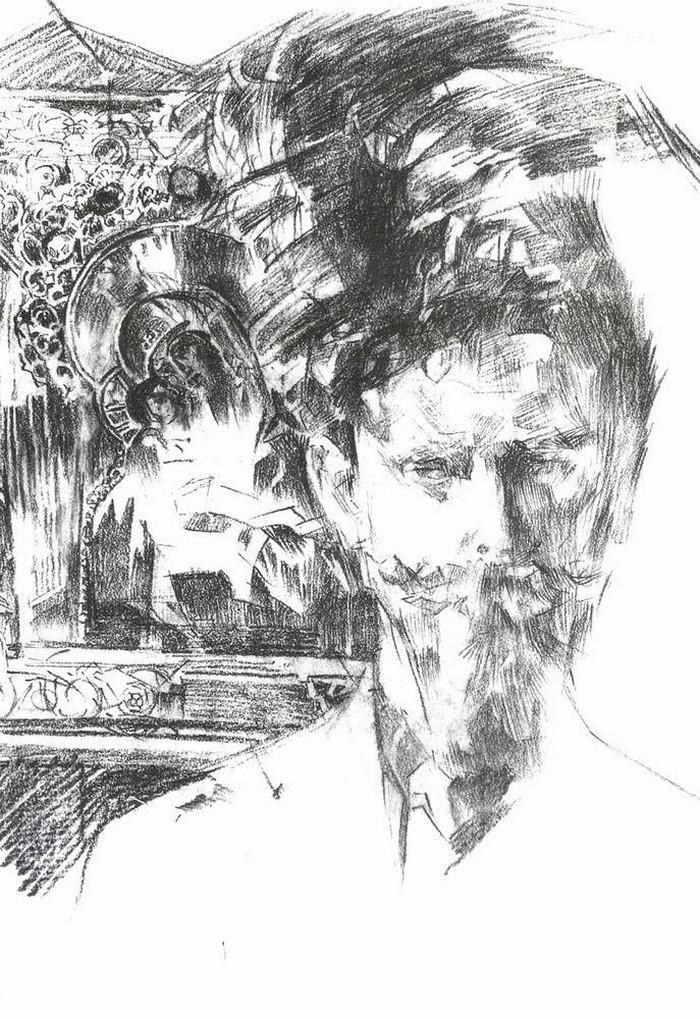 Михаил Врубель. Портрет доктора Усольцева на фоне иконы
