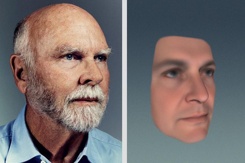 О надежности машинного ДНК-фенотипирования компании Human Longevity судите сами: справа — портрет Крейга Вентера в возрасте 18 лет, как его предсказал ИИ; слева — реальная фотография 71-летнего ученого.