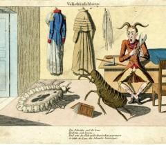 Вошь атакует портного. Карикатура 1814 года