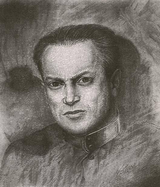"""Лев Александрович Зильбер (1894-1966) в 1943 году - начальник лазарета в лагпункте """"Канин-нос"""" Печлага. Рисунок пациента-заключённого."""