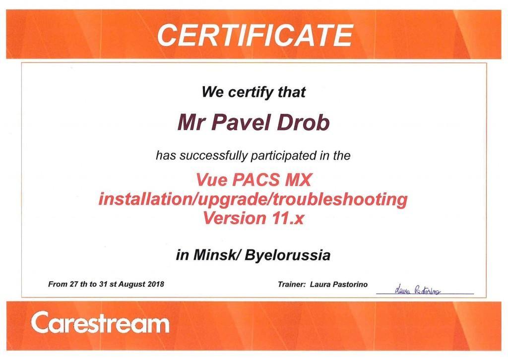 Сертиф обучен Vue PACS MX август 2018 Дроб