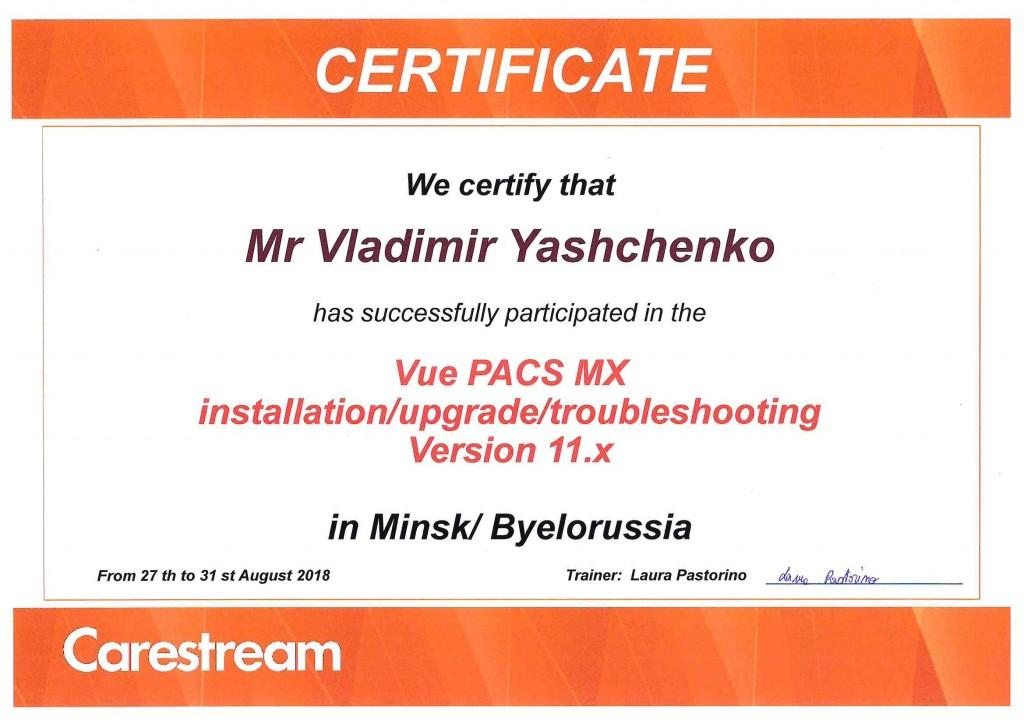 Сертиф обучен Vue PACS MX август 2018 Ященко