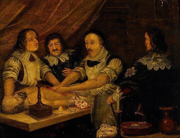 Уильям Гарвей препарирует тело Томаса Парра Wikimedia Commons