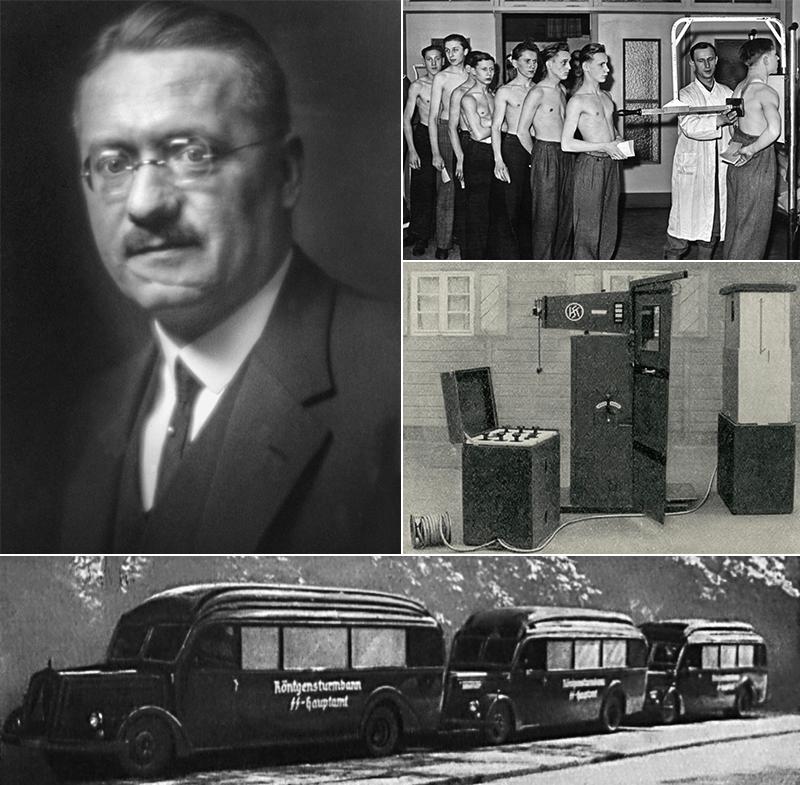 Вверху слева: Ганс Хольфельдер (1891-1944) Вверху справа: А) массовое флюорографическое исследование школьников из «Гитлерюгенда», январь 1944 года. В нацистской Германии всего было обследовано около 10 миллионов человек, но есть сведения, что врачи не справились с обработкой такого количества снимков. Б) флюорографическая аппаратура фирмы «Кох-унд-Штерцель», выпущенная в Дрездене в 1941 году; предназначалась для массового обследования населения Германии. Внизу: автобусы «Рентгеновского штурмбанна управления СС», снимок из журнала «Дойче Милитэарцт», 1939, №4