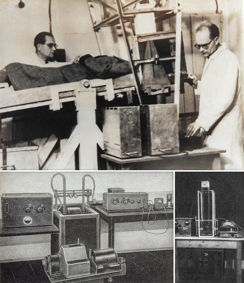 Вверху: Карл Дуссик (слева) и Фридрих Дуссик (справа) в больнице Бад-Ишля погружают голову пациентки в ёмкость с водой для УЗИ. 1946 год. Внизу слева: Дефектоскоп Соколова – первая в мире установка для контроля качества металлов при помощи ультразвука. 1934 год. Внизу справа: Иллюстрация из статьи Дуссика от 1 мая 1941 года: опытная установка для регистрации прохождения ультразвука через биологические препараты. Изменение мощности излучения показывает стрелка миллиамперметра.