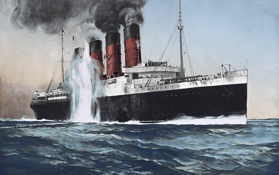 Лайнер «Лузитания» в момент взрыва немецкой торпеды у правого борта 7 мая 1915 года. Гибель этого корабля вызвала к жизни идею сонара для обнаружения подводных лодок, т.е. первого практического применения ультразвука. Впервые субмарина, обнаруженная с помощью сонара, была потоплена в апреле 1916 года. Раскрашенная иллюстрация для «Нью-Йорк Хералд».