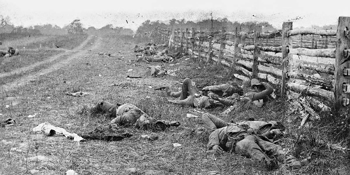 Мёртвые солдаты армии конфедератов после битвы при Энтитеме